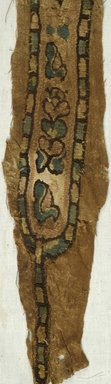 Coptic. <em>Clavus Fragment with Botanical and Geometric Decoration</em>, 7th-10th century C.E. Flax, wool, 4 1/8 x 41 3/4 in. (10.5 x 106 cm). Brooklyn Museum, Gift of Mr. and Mrs. Philip Gould, 86.249.2. Creative Commons-BY (Photo: Brooklyn Museum (in collaboration with Index of Christian Art, Princeton University), CUR.86.249.2_detail01_ICA.jpg)