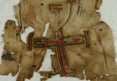 Coptic. <em>Fragment with Cross Decoration</em>, 10th century C.E. (probably). Flax, 14 9/16 x 16 9/16 in. (37 x 42 cm). Brooklyn Museum, Gift of Mr. and Mrs. Philip Gould, 86.249.3. Creative Commons-BY (Photo: Brooklyn Museum (in collaboration with Index of Christian Art, Princeton University), CUR.86.249.3_ICA.jpg)