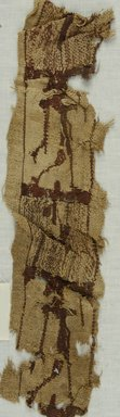Coptic. <em>Band Fragment with Figural Decoration</em>, 7th century C.E. (possibly). Flax, wool, 4 x 15 3/4 in. (10.2 x 40 cm). Brooklyn Museum, Gift of Mr. and Mrs. Philip Gould, 86.249.5. Creative Commons-BY (Photo: Brooklyn Museum (in collaboration with Index of Christian Art, Princeton University), CUR.86.249.5_ICA.jpg)
