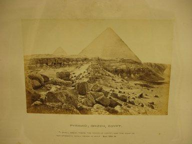 Frank Mason Good (English, 1839-1911). <em>Pyramid: Ghizeh, Egypt</em>, 19th century. Albumen silver photograph, image/sheet: 4 1/16 x 6 3/16 in. (10.3 x 15.7 cm). Brooklyn Museum, Gift of Alan Schlussel, 86.250.41 (Photo: Brooklyn Museum, CUR.86.250.41.jpg)