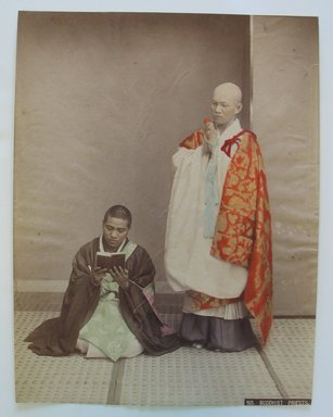 <em>Buddhist Priests</em>, ca. 1900. Tinted albumen silver photographs, 10 3/8 x 7 7/8 in. (26.4 x 20 cm). Brooklyn Museum, Gift of Matthew Dontzin, 86.256.24 (Photo: Brooklyn Museum, CUR.86.256.24.jpg)