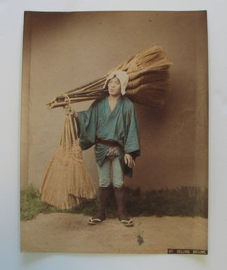 <em>Selling Brooms</em>, late 19th-early 20th century. Tinted albumen silver photographs, 10 1/4 x 7 7/8 in. (26.1 x 20 cm). Brooklyn Museum, Gift of Matthew Dontzin, 86.256.28 (Photo: Brooklyn Museum, CUR.86.256.28.jpg)