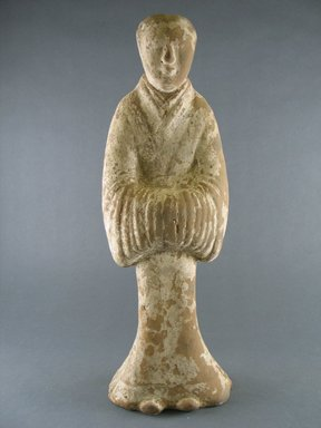 <em>Court Lady</em>, 4th-5th century. Painted pottery, 16 x 5 3/4 in. (40.6 x 14.6 cm). Brooklyn Museum, Gift of Dr. and Mrs. John P. Lyden, 86.271.26. Creative Commons-BY (Photo: Brooklyn Museum, CUR.86.271.26_front.jpg)