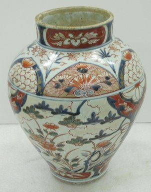 <em>Jar</em>, ca. 1680. Imari ware, porcelain with underglaze and overglaze enamel, 12 3/4 x 10 in. (32.4 x 25.4 cm). Brooklyn Museum, Gift of Dr. and Mrs. John P. Lyden, 86.271.37. Creative Commons-BY (Photo: Brooklyn Museum, CUR.86.271.37.jpg)
