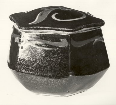 Kawai Kanjiro (Japanese, 1890-1966). <em>Covered Box</em>, ca. 1950. Stoneware with glaze, 3 3/4 x 5 in. (9.5 x 12.7 cm). Brooklyn Museum, Gift of Dr. and Mrs. John P. Lyden, 86.271.5. Creative Commons-BY (Photo: Brooklyn Museum, CUR.86.271.5a-b_bw.jpg)