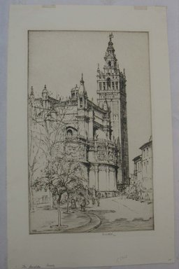 Ernest David Roth (American, 1879-1964). <em>The Giralda, Seville</em>, 1921. Etching on paper, Sheet: 16 7/8 x 10 5/8 in. (42.8 x 27 cm). Brooklyn Museum, Bequest of Louise Seaman Bechtel, 86.38.4 (Photo: Brooklyn Museum, CUR.86.38.4.jpg)