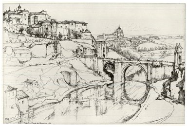 Ernest David Roth (American, 1879-1964). <em>Toledo, Puente de Alcantara</em>, 1921. Etching on Japan paper, Image: 9 7/16 x 14 3/8 in. (24 x 36.5 cm). Brooklyn Museum, Bequest of Louise Seaman Bechtel, 86.38.5 (Photo: Brooklyn Museum, CUR.86.38.5.jpg)