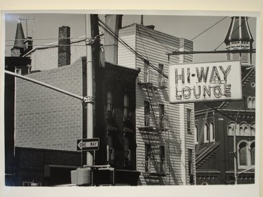 Richard Schiffman (American, born 1952). <em>Untitled (Highway Lounge)</em>, 1986. Gelatin silver photograph, Image: 9 1/4 x 13 3/4 in. (23.5 x 35 cm). Brooklyn Museum, Gift of the artist, 86.54.3. © artist or artist's estate (Photo: Brooklyn Museum, CUR.86.54.3.jpg)