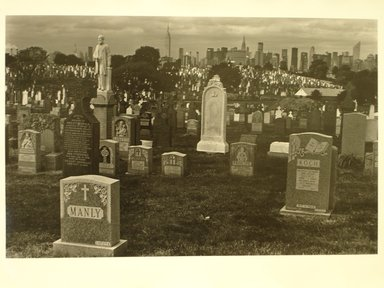 Richard Schiffman (American, born 1952). <em>Untitled (Skyline of New York Cemetary)</em>, 1986. Gelatin silver photograph, Image: 8 x 8 7/16 in. (20.3 x 21.5 cm). Brooklyn Museum, Gift of the artist, 86.54.4. © artist or artist's estate (Photo: Brooklyn Museum, CUR.86.54.4.jpg)