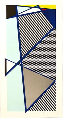 Roy Lichtenstein (American, 1923-1997). <em>Imperfect Print for B.A.M.</em>, 1987. Woodcut and screenprint with silver paper collage on paper, sheet: 59 5/8 x 31 3/8 in. (151.4 x 79.7 cm). Brooklyn Museum, Purchased with funds given by Henry and Cheryl Welt, 87.213.3. © artist or artist's estate (Photo: Image courtesy of Estate of Roy Lichtenstein, CUR.87.213.3_Lichtenstein_Estate_3718.jpg)
