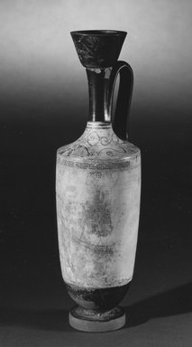 Greek. <em>White-Ground Lekythos</em>, 5th century B.C.E. Clay, paint, 10 11/16 x greatest diam. 10 1/16 in. (27.2 x 25.5 cm). Brooklyn Museum, Gift of Damon Mezzacappa, 87.226. Creative Commons-BY (Photo: Brooklyn Museum, CUR.87.226_NegA_print_bw.jpg)