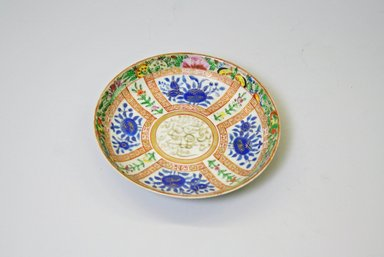<em>Export Ware Dish</em>, 1905. Porcelain, with gold and luster glaze in green, pink, cobalt blue yellow, and red, 1 3/16 x 5 11/16 in. (3 x 14.4 cm). Brooklyn Museum, Gift of Dr. Bertram H. Schaffner, 87.23.7. Creative Commons-BY (Photo: Brooklyn Museum, CUR.87.23.7.jpg)