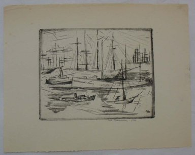 Werner Drewes (American, born Germany, 1899-1984). <em>San Francisco</em>, 1926. Etching on wove paper, Image: 6 3/8 x 8 1/16 in. (16.2 x 20.4 cm). Brooklyn Museum, Gift of Henry Ross, 88.173.1. © artist or artist's estate (Photo: Brooklyn Museum, CUR.88.173.1.jpg)