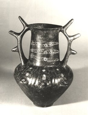Villanovan. <em>Two-Handled, Tall-Necked Vessel</em>, 8th-early 7th century B.C.E. Clay, slip, 10 x 9 in. (25.4 x 22.9 cm). Brooklyn Museum, Gift of Robin F. Beningson, 88.202.4. Creative Commons-BY (Photo: Brooklyn Museum, CUR.88.202.4_print_NegA_bw.jpg)