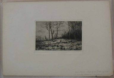 Henry Farrer (American, 1843-1903). <em>Untitled (Landscape with Two Figures)</em>. Etching, Image: 3 5/8 x 5 1/8 in. (9.2 x 13 cm). Brooklyn Museum, Gift of Dr. Clark S. Marlor, 88.6.3 (Photo: Brooklyn Museum, CUR.88.6.3.jpg)