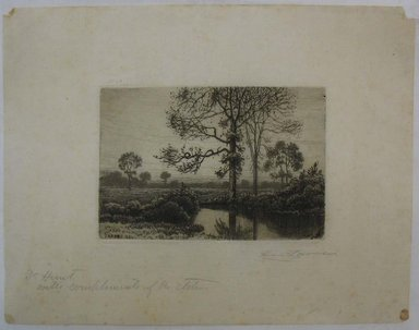 Henry Farrer (American, 1843-1903). <em>Untitled (Meadow with Pond)</em>, 1884. Etching, Image: 4 x 6 in. (10.2 x 15.2 cm). Brooklyn Museum, Gift of Dr. Clark S. Marlor, 88.6.4 (Photo: Brooklyn Museum, CUR.88.6.4.jpg)