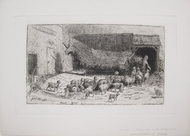 John Austin Sands Monks (American, 1850 -1917). <em>Untitled (Barnyard Scene with Sheep)</em>, n.d. Etching on simulated laid paper, Image (Plate): 6 x 9 13/16 in. (15.2 x 24.9 cm). Brooklyn Museum, Gift of Dr. Clark S. Marlor, 88.6.6 (Photo: Brooklyn Museum, CUR.88.6.6.jpg)