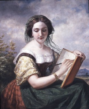 Daniel Huntington (American, 1816-1906). <em>The Sketcher: A Portrait of Mlle Rosina, a Jewess</em>, 1858. Oil on canvas, 39 x 31 3/16 in. (99.1 x 79.2 cm). Brooklyn Museum, Transferred from the Brooklyn Institute of Arts and Sciences to the Brooklyn Museum, 97.33 (Photo: Brooklyn Museum, CUR.97.33.jpg)