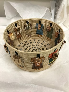 Carol Emarthle-Douglas (Northern Arapaho-Seminole, born 1959). <em>Cultural Burdens Basket</em>, 2016. Hemp, waxed linen thread, reed, hickory, red and yellow cedar bark, black ash, yucca, white oak bark, silk thread, sinew, pine needles, wood beads, and deer hide
