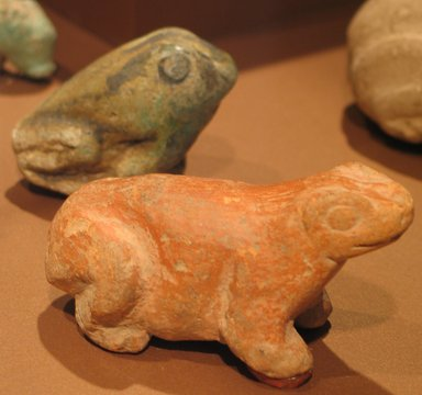 <em>Figure of a Frog</em>, ca. 3000-2675 B.C.E. Faience, 2 1/16 in. (5.2 cm). Anonymous loan, L58.2.3. Creative Commons-BY (Photo: , CUR.L58.2.3_L58.2.5_erg3.jpg)
