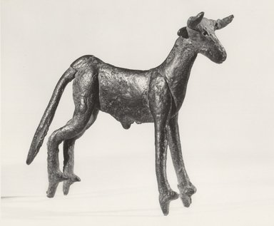 Anatolian. <em>Statuette of Standing Bull</em>, ca. 2000 B.C.E. Copper, 3 3/4 x 1 5/16 x 4 7/16 in. (9.5 x 3.4 x 11.3 cm). Collection of Jonathan P. Rosen, L86.1.4. Creative Commons-BY (Photo: Brooklyn Museum, CUR.L86.1.4_negA_bw.jpg)