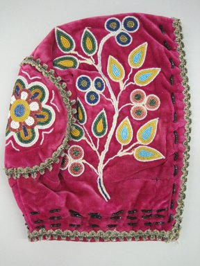 Woodlands. <em>Child's Cap</em>, ca. 1890s. Velvet, cloth, beads, 8 1/4 × 6 1/2 × 5 1/4 in. (21 × 16.5 × 13.3 cm). Brooklyn Museum, Gift of the Edward J. Guarino Collection in memory of Josephine M. Guarino, 2016.11.2. Creative Commons-BY (Photo: Brooklyn Museum, CUR.TL2016.18.2_view1.jpg)