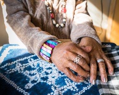 Kris Graves (American, born 1982). <em>Mamie Kirkland's Hands, Los Angeles, California</em>, 2017. Inkjet print, sheet: 17 x 22 in. . Brooklyn Museum, Gift of the artist, 2017.25.3. © artist or artist's estate (Photo: Brooklyn Museum, CUR.TL2017.29.3_KrisGraves_photograph.jpg)