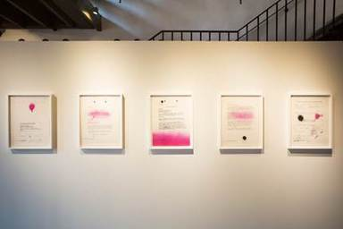 Sadie Barnette (American, born 1984). <em>My Father's FBI File, Government Employees Installation</em>, 2017. Inkjet prints, sheet: 22 × 17 in. (55.9 × 43.2 cm). Brooklyn Museum, Emily Winthrop Miles Fund and Alfred T. White Fund, 2018.11a-e. © artist or artist's estate (Photo: Photo courtesy Fort Ganvesvoort, CUR.TL2018.23a-e_FortGanvesvoort_photograph.jpg)