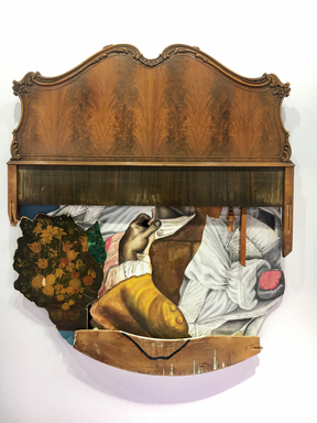David Shrobe (American, born 1974). <em>Elbow Room</em>, 2018. Oil, fabric, wood headboard, chair parts, window molding and mixed media, 67 × 57 × 4 in. (170.2 × 144.8 × 10.2 cm). Brooklyn Museum, William K. Jacobs, Jr. Fund, 2018.30.1. © artist or artist's estate (Photo: Photo courtesy David Shrobe, CUR.TL2018.25.1_DavidShrobe_photograph.jpg)