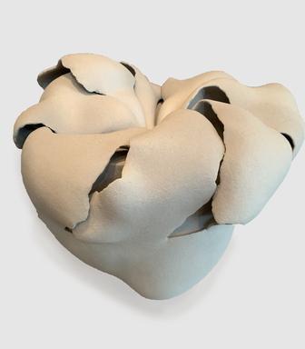 Fujino Sachiko (Japanese, born 1950). <em>Vessel</em>, 2010. Stoneware, airbrushed with slip, 16 9/16 × 15 3/4 × 15 3/8 in. (42 × 40 × 39 cm). Brooklyn Museum, Partial gift of Steven Korff and Marcia Van Wagner and Bertram H. Schaffner Asian Art Fund, 2020.1.7 (Photo: , CUR.TL2019.42.7_side_edited.jpg)