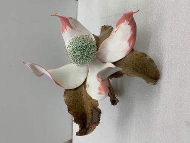Sugiura Yasuyoshi (Japanese, born 1949). <em>Dogwood Flower</em>, 2019. Glazed stoneware with metallic glazes, 17 3/8 × 17 3/8 × 15 in. (44.1 × 44.1 × 38.1 cm). Brooklyn Museum, Gift of Joan B. Mirviss in honor of Alan Beller, 2020.14. © artist or artist's estate (Photo: Brooklyn Museum, CUR.TL2020.13_view01-1.jpg)