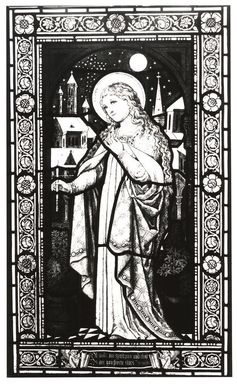 <em>Window</em>, ca. 1875. Stained glass, 31 3/4 x 18 5/8 in. Brooklyn Museum, Brooklyn Museum Collection, X1023.1. Creative Commons-BY (Photo: Brooklyn Museum, CUR.X1023.1_bw.jpg)