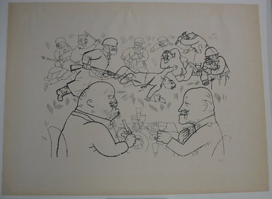 George Grosz (American, born Germany, 1893-1959). <em>The Communists Fall and Foreign Exchange Rises</em>, 1919. Photo-transfer lithograph, Sheet: 18 9/16 x 24 7/8 in. (47.1 x 63.2 cm). Brooklyn Museum, Brooklyn Museum Collection, X1041 (Photo: Brooklyn Museum, CUR.X1041.jpg)