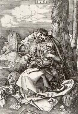 Albrecht Dürer (German, 1471-1528). <em>Madonna with Pear</em>, 1511, printed 1732. Engraving, 6 3/4 x 4 7/8 in. (17.3 x 12.4 cm). Brooklyn Museum, Brooklyn Museum Collection, X1042.10 (Photo: Brooklyn Museum, CUR.X1042.10.jpg)