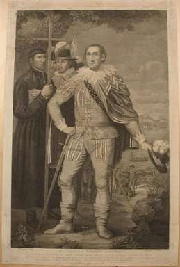 David Edwin (American, born England, 1776-1841). <em>The Landing of Christopher Columbus</em>, 1800. Engraving, Image: 22 1/2 x 14 5/8 in. (57.2 x 37.1 cm). Brooklyn Museum, Brooklyn Museum Collection, X1042.140 (Photo: Brooklyn Museum, CUR.X1042.140.jpg)