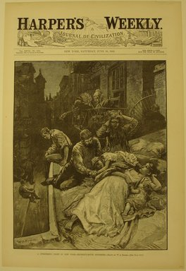 William Allen Rogers (American, 1854-1931). <em>A Sweltering Night in New York - Tenement House Sufferers</em>, 1883. Wood engraving, Image: 14 3/8 x 9 1/4 in. (36.5 x 23.5 cm). Brooklyn Museum, Brooklyn Museum Collection, X1042.141 (Photo: Brooklyn Museum, CUR.X1042.141.jpg)