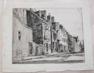 Earl Horter (American, 1881-1940). <em>Middle Alley, Philadelphia</em>, n.d. Etching, Sheet: 8 15/16 x 11 7/16 in. (22.7 x 29.1 cm). Brooklyn Museum, Brooklyn Museum Collection, X1042.15 (Photo: Brooklyn Museum, CUR.X1042.15.jpg)