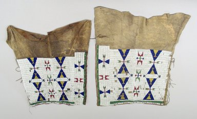 Arapaho. <em>Woman's Leggings</em>. Hide, beads, 46 x 42 in.  (116.8 x 106.7 cm). Brooklyn Museum, Brooklyn Museum Collection, X108. Creative Commons-BY (Photo: Brooklyn Museum, CUR.X108_view1.jpg)
