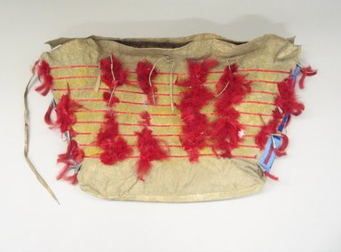 Sioux. <em>Tipi Bag or Possible Bag</em>, 19th century. Hide, beads, metal, horse hair, feathers, porcupine quills, ochre, sinew, 14 1/2 x 20 in. (36.8 x 50.8 cm). Brooklyn Museum, Brooklyn Museum Collection, X1111.2. Creative Commons-BY (Photo: Brooklyn Museum, CUR.X1111.2_view1.jpg)