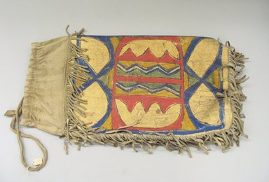 Possibly Sioux. <em>Hide Container</em>, late 19th-early 20th century. Rawhide, paint, fabric, 11 1/4 x 21 1/2 in. (28.6 x 54.6 cm). Brooklyn Museum, Brooklyn Museum Collection, X1115.1. Creative Commons-BY (Photo: Brooklyn Museum, CUR.X1115.1_view1.jpg)