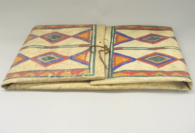 Sioux. <em>Parfleche</em>. Rawhide, paint, folded: 15 1/4 x 29 x 2 1/2 in. (38.7 x 73.7 x 6.4 cm). Brooklyn Museum, Brooklyn Museum Collection, X1115.2. Creative Commons-BY (Photo: Brooklyn Museum, CUR.X1115.2.jpg)
