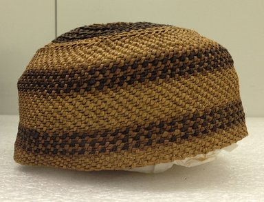 Yombe. <em>Cap</em>, late 19th century. Raffia, height: 2 7/8 in. (7.3 cm); diameter: 6 1/4 in. (15.9 cm). Brooklyn Museum, Brooklyn Museum Collection, X1124.2. Creative Commons-BY (Photo: Brooklyn Museum, CUR.X1124.2_side.jpg)