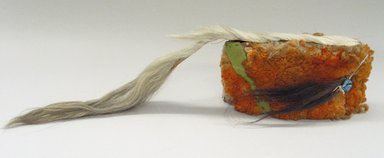 Plains. <em>Orange Headdress with Horsehair</em>. Sheep wool, horsehair Brooklyn Museum, Brooklyn Museum Collection, X1126.2. Creative Commons-BY (Photo: Brooklyn Museum, CUR.X1126.2_view1.jpg)