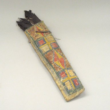 Plains. <em>Parfleche Quiver with Feathers</em>. Hide, pigment, feathers, sinew Brooklyn Museum, Brooklyn Museum Collection, X1126.42. Creative Commons-BY (Photo: Brooklyn Museum, CUR.X1126.42.jpg)