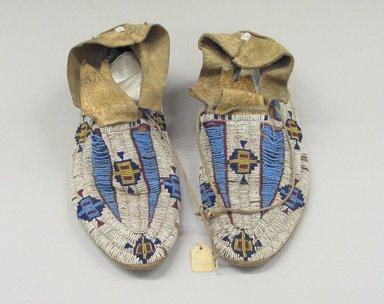 Possibly Cheyenne. <em>Moccasins</em>. Beads Brooklyn Museum, Brooklyn Museum Collection, X1126.6a-b. Creative Commons-BY (Photo: Brooklyn Museum, CUR.X1126.6a-b_view1.jpg)