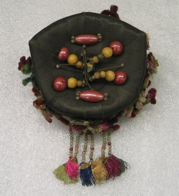 <em>Woman's Headdress (Jokduri)</em>, 1950s-1960s. Silk satin, paper, beads, Height: 2 3/4 in. (7 cm). Brooklyn Museum, Brooklyn Museum Collection, X1145. Creative Commons-BY (Photo: Brooklyn Museum, CUR.X1145_view1.jpg)