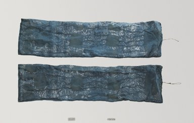 <em>Pair of Jade Pendants (Paeok) in Bags</em>, 19th century. Jade, silk gauze, Each: 20 7/8 x 5 1/2 in. (53 x 14 cm). Brooklyn Museum, Brooklyn Museum Collection, X1147a-b. Creative Commons-BY (Photo: Brooklyn Museum (in collaboration with National Research Institute of Cultural Heritage, , CUR.X1147a-b_Collins_photo_NRICH.jpg)