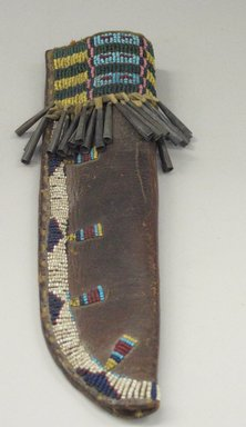 Cheyenne. <em>Knife Case</em>, fourth quarter 19th century. Hide, glass beads, metal, sinew, 2 3/4 x 9 3/4 in. (7 x 24.8 cm). Brooklyn Museum, Brooklyn Museum Collection, X1176.3. Creative Commons-BY (Photo: Brooklyn Museum, CUR.X1176.3.jpg)