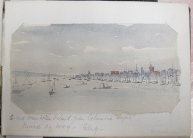 Gertrude M. Young (American, born England, 1862-1930). <em>Sketchbook of New York, Hudson River, and Nebraska Scenery</em>, 1888-1891. Graphite, ink, and watercolor on paper, 5 5/16 x 7 1/8 x 7/16 in. (13.5 x 18.1 x 1.1 cm). Brooklyn Museum, Brooklyn Museum Collection, X1192.4 (Photo: Brooklyn Museum, CUR.X1192.4_page07_recto.jpg)
