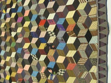 <em>Quilt</em>, 1860s. Silk, 78 1/4 x 79 in. (198.8 x 200.7 cm). Brooklyn Museum, Brooklyn Museum Collection, X1198 (Photo: Brooklyn Museum, CUR.X1198.jpg)